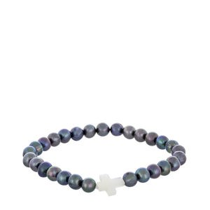 CULTURED GREY AND MOTHER-OF-PEARL CROSS PEARLS BRACELET