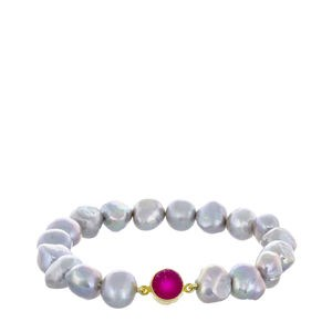 BRACELET CULTURED GREY PEARLS AND A PINK GEODE