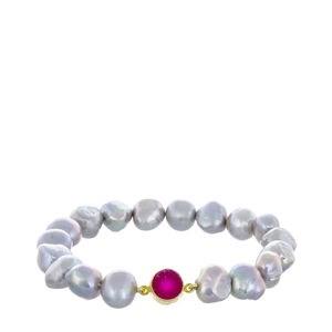 Bracelet de culture perles grises et une Géode rose