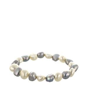 Pulsera perlas grises y blancas barrocas