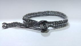 SILVER BRACELET WOVEN BLACKENED AND HEMATITE FACETTED 0191 PESAVENTO