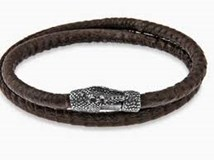 BRACELET LEATHER TEXTURED SNAKE BROWN REPTILE STERLING SILVER CLOSURE CAJON SNAKE SKIN LINED ACB2T20 SILVER STICK Plata de palo