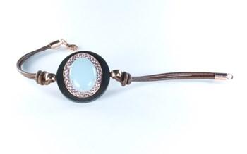 Ébène de Piropo bracelet cuir et argent avec calcédoine 10313