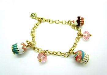Cupcakes de bracelet en argent sterling plaqué or