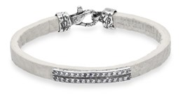 PALO L28FT19 WHITE LEATHER SILVER BRACELET Plata de palo
