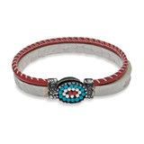 BRACELET STERLING SILVER STICK WHITE AND RED LEATHER WITH TURQUOISE CB9DT20 Plata de palo