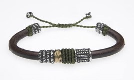 BRACELET SILVER STICK WITH SILVER LEATHER MACRAMÉ, BRONZE AND CUBIC ZIRCONIA TZ2VTU Plata de palo