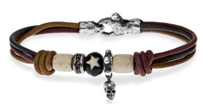 BRACELET SILVER STICK WITH BROWN LEATHER SKULL CUBIC ZIRCONIA AND WHITE RESIN C62ET23 Plata de palo