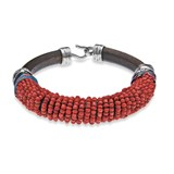 BRACELET STERLING SILVER RED CRYSTAL BROWN LEATHER SUIT AND BLUE SILK CB10CT18 Plata de palo