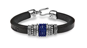 BRACELET STERLING SILVER LAPIS LAZULI L21CT20 BROWN LEATHER STICK Plata de palo