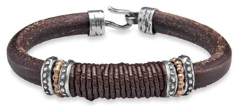 BRACELET SILVER STICK LEATHER SKIN LIZARD BROWN ACB6T19 Plata de palo
