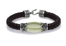 BRACELET SILVER STICK SILVER LEATHER L42BT19 Plata de palo