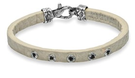 BRACELET STERLING SILVER STICK LEATHER SILVER AND STONES L28KT23 Plata de palo