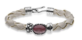 BRACELET SILVER OF STICK LEATHER BRAIDED CABOCHON PINK TR12CT19 Plata de palo