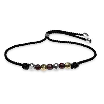 BRACELET SILVER OF STICK THREAD BLACK GARNET AND BRONZE C50FTU Plata de palo