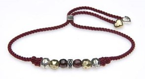 BRACELET SILVER STICK THREAD GARNET RED AND BRONZE AND CUBIC ZIRCONIA C50ATU Plata de palo