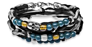 BRACELET SILVER OF STICK SILK GREY BLACK WITH SKULL GLASS BLUE SK3T17 Plata de palo