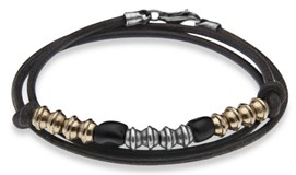 BRACELET SILVER OF ROSEWOOD TRIPLE WITH LEATHER BLACK SILVER BRONZE AND RESIN CAB6CT21 CAB6CT20 Plata de palo