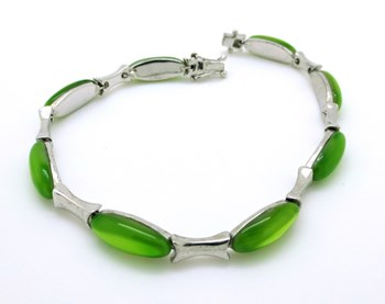 BRACELET SILVER LUXENTER WITH GREEN STONES B630171