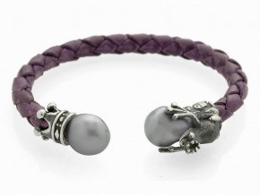 BRACELET SILVER AND LEATHER WITH PEARL GREY 9060UM-1 Marina Garcia