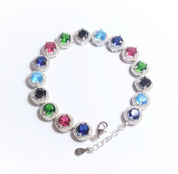 BRACELET SILVER RHODIUM-PLATED WITH STONES - OWN - P-3/3