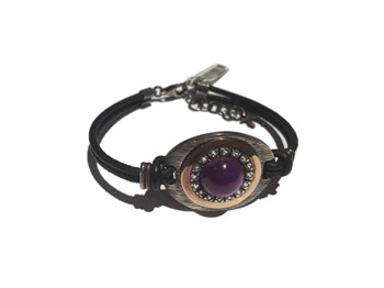 BRACELET SILVER AND GOLD WITH AMETHYST AND BLUE TOPAZ