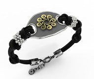 SILVER AND GOLD BRACELET BLACK LEATHER 7BHM025B Bohemme