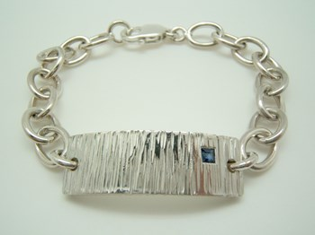 Silver bracelet with blue Sapphire B-79 P-H-Za-Rect