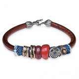 BRACELET PLATADEPALO LEATHER BRONZE SILVER RESIN RED HOOK CB28ET18 SILVER STICK Plata de palo