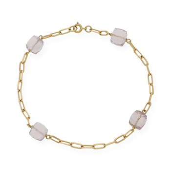 BRACELET MADE IN YELLOW GOLD-750 THOUSANDTHS (18KT) WITH 4 AMETHYST 7.25 MM