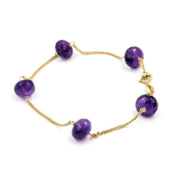 BRACELET MADE IN YELLOW GOLD-750 THOUSANDTHS (18KT) WITH AMETHYST FACETED, WITH CLOSURE OF MOSQUETON