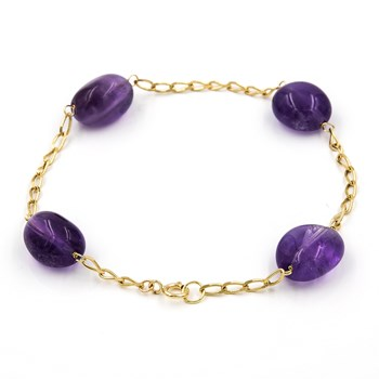 BRACELET MADE IN YELLOW GOLD-750 THOUSANDTHS (18KT) WITH AMETHYSTS SPOT OF 10,75 MM