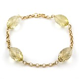 BRACELET MADE IN YELLOW GOLD-750 THOUSANDTHS (18KT) WITH FOUR QUARTZ AND CITRINE FACETED OVAL CUT