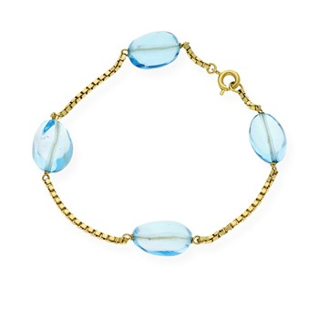 BRACELET MADE IN YELLOW GOLD-750 THOUSANDTHS (18KT) WITH 4 BLUE TOPAZ OF 11.45 MM