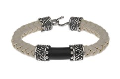 BRACELET BLACK CUBIC ZIRCONIA SILVER RESIN WHITE LEATHER TWISTED L38CT21 SILVER STICK Plata de palo