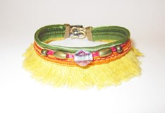 BRACELET SUMMER SILVER OF STICK SILK FRINGED YELLOW TB14BT19 Plata de palo