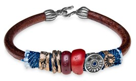 BRACELET TEXAS SILVER BRONZE RESIN RED LEATHER CB28ET23 SILVER OF PALO Plata de palo