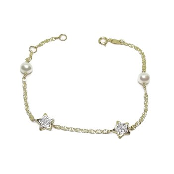 GOLD BRACELET YELLOW AND WHITE GOLD 18K WITH STAR AND ZIRCONS AND CULTURED PEARLS OF 5MM. NEVER SAY NEVER