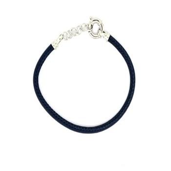 Bracelet unisexe en cuir bleu et argent 60P 99-21 60P99-21 Stradda