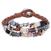 BRACELET ONE OF 50 LEATHER AND BEAD COLOR PUL1445MCLCAM0M Uno de 50