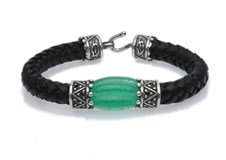 BRACELET GLASS GREEN BRAIDED BLACK LEATHER SILVER L42AT19 SILVER STICK Plata de palo