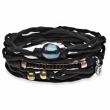 BRACELET TURNS BLACK SILK CULTURED PEARL GLASS SILVER BRONZE TB13CT18 SILVER STICK Plata de palo