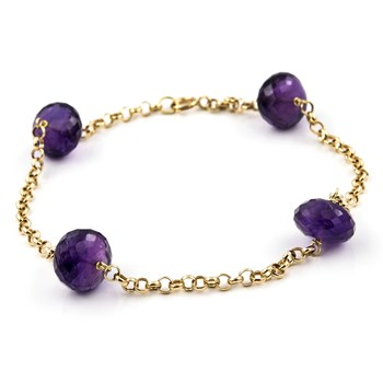BRACELETS MADE IN YELLOW GOLD, 750 THOUSAND�SIMAS (18KT) SANDWICHING 4 AMETHYST ROUND CARVED OF 9.45 MM, LENGTH 19 CM 1501/0231-AMT