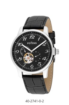 WATCH CAB AUTOMATIC BOX OF STEEL STRAP OF LEATHER 40-2741-0-2 Potens