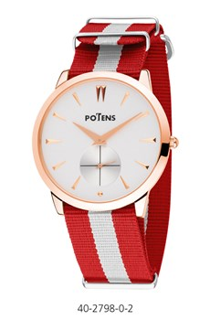 WATCH GOLD PLATED BOX CAB PINK 40-2798-0-2 NYLON STRAP Potens