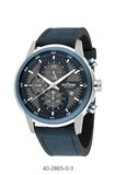 MEN WATCH POTENS CHRONO STEEL CASE STRAP LEATHER 40-2865-0-3