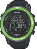 Reloj Pulsar caballero,digital,caja acero de 49mm de diámetro,100mts,calendario,cronógrafo,luz,   PQ2033x1