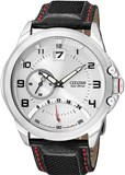 MEN CITIZEN ECODRIVE WATCH STEEL AND LEATHER BELT BR0116-04B