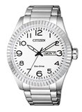 WATCH CITIZEN ECO DRIVE HMBRE STEEL DOUBLE CALENDAR BM8530-89A