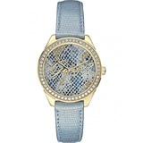 WATCH WITH LEATHER STRAP FOR WOMEN, BLUE COLOR W0612L1 GUESS